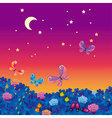 night medow with bugs vector image
