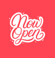 now open hand written lettering text vector image