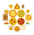 pizza icons set in flat style vector image