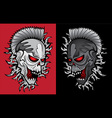 punk angry robot skull with glowing eyes vector image vector image