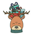 reindeer with gift on head celebration merry vector image vector image