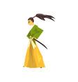 samurai cartoon character japanese warrior in vector image vector image