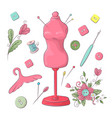 set mannequin sewing accessories hand drawing vector image vector image