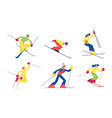 set skiing sport activity isolated on white vector image