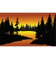 silhouette of spruce in river vector image