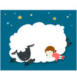 sleeping girl with fluffy sheep vector image