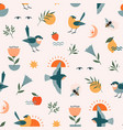 summer birds fruit floral seamless pattern vector image vector image