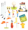 three golfers playing golf surrounded by sport vector image vector image
