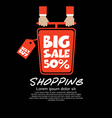 top view shopping cart big sale concept vector image