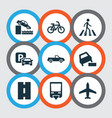 transportation icons set with quayside zebra vector image
