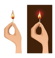 Two images with hand holding burning match vector image