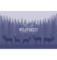with trees and deer silhouettes vector image vector image