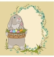Easter bunny holding a basket with eggs Retro vector image