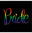 rainbow script pride on black vector image