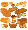 bread icons set for bakery shop pie wheat bagels vector image