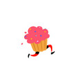 a tasty muffin sweet character with legs icon vector image vector image
