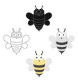 bee cartoonblack icon for web and vector image