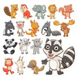 big set of animals collection of cute animals in vector image