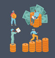 bundle man and woman with money vector image vector image