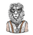 cartoon hand drawn animal hipster in fashion suit vector image