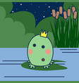 cartoon princess frog with crown on a swamp vector image