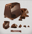 chocolate pieces 3d set vector image vector image
