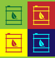 color bio fuel barrel line icon isolated on color vector image