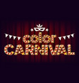 color carnival poster carnival 3d glowing vector image