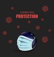 coronavirus sign and bowling ball with mask