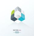 Cube Worm View green blue gray color vector image vector image