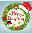 decoration merry christmas wreath circle vector image vector image