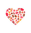 delicious desserts in shape of heart vector image vector image