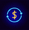 dollar arrow neon sign vector image