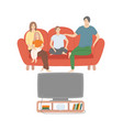 family watching tv at home father and mother vector image vector image