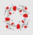 floral frame poppy wreath red poppy flower vector image vector image