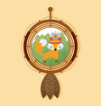fox on dream catcher vector image vector image