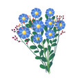 fresh bouquet of field blue flowers isolated on vector image vector image