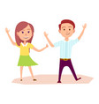 girl and boy raise their hands up vector image