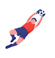 goalkeeper soccer football sport player catches a vector image