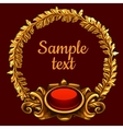 Golden ornate decoration on a red background vector image vector image