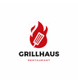 grill spatula fire flame logo badges label icon vector image vector image