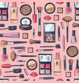 hand drawn makeup products pattern vector image