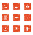 handout icons set grunge style vector image vector image