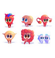 human body organs cartoon characters isolated set vector image