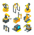 isometric pictures of machinery factory machine vector image vector image