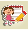 kid with notebook and pencil isolated icon design vector image vector image