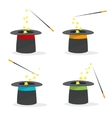 Magic Hat Set with a Wand vector image