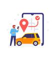man calls a taxi through app icon vector image vector image