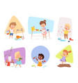 messy kids happy children playing in various vector image vector image