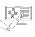 monitor computer with processor and robot hand vector image vector image